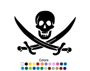 Jolly Roger Decal Pirate Sticker Skull Decal Custom Sticker Skull Sticker Pirate Decal Jolly Roger Flag Jolly Roger Sticker Swords D1111