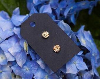 8mm Gold Druzy Stud Earrings - Great Bridesmaid Gift!