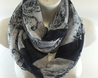 Black White Large Stripe and Paisley Scarf Shawl Wrap Spring Scarf