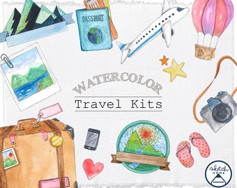 Watercolor Clipart Travel kits, Travel items