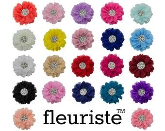 "Extra Large 5"" Chiffon Flower, Rhinestone Flower, Wholesale Flower, Fabric Flower, Headband Flower, Flower Embellishment, Choose Colors"