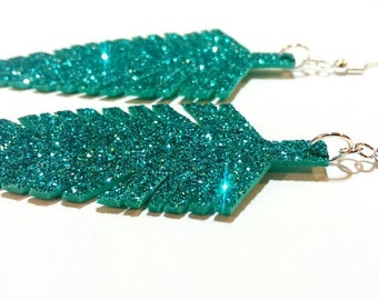 Turquoise Glitter Feather Earrings