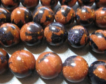 Matrix Goldstone 12mm Round Beads 32pcs