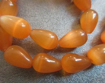 Orange Cat's Eye Teardrops Beads 34pcs