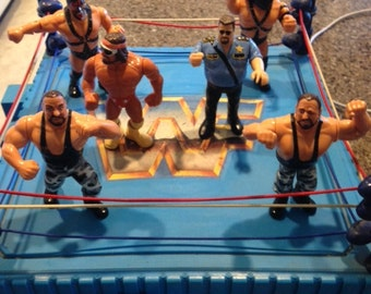 WWF Ring and 6 figures 1989-1991
