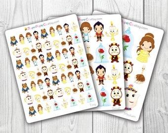 Princess and Beast Stickers, Beauty, Princess, Kawaii, Cute Stickers, Planner Stickers, Pretty,  Erin Condren, ECLP