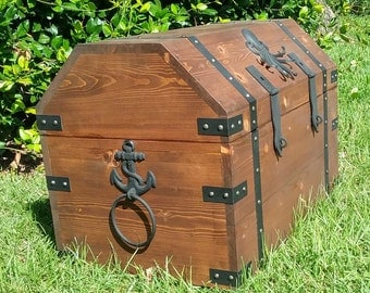 Treasure Chest, Nautical Theme,Octopus Anchors Display Box,Navy Retirement Gift,Strongbox,Coffer,Trunk,Portmanteau,War Chest,Storage Chest