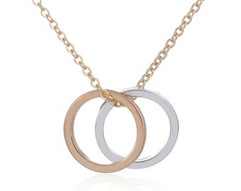 Double Circle Necklace, Two Circle Necklace, Infinity Necklace, Sisters Necklace, Interlocking Circles, Eternity Gold Silver Circles
