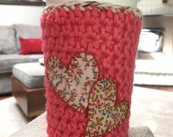 Crochet coffee cozy, reusable coffee cup, coffee sleeve, mug hug, reusable coffee sleeve, pink, floral, hearts