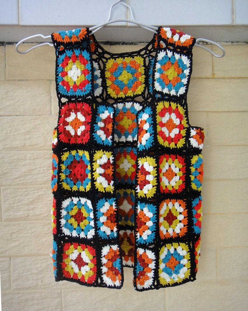 Crochet Granny Square Vest Pattern : Granny Square Jacket Crochet Vest