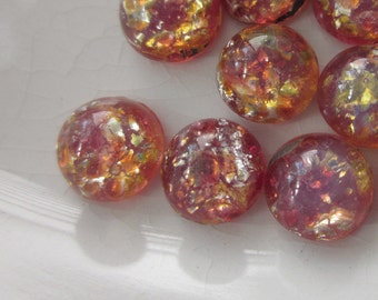 24 Vintage Cabochons, Dichroic Glass, Pink + Orange with Gold Flecks, 7mm Round