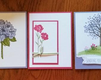 Floral Birthday cards - set of twelve handstamped cards