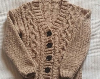 Hand Knitted 4-5 year old boys V neck cardigan - coffee brown