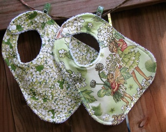 Baby Girl Bibs - Fairy Frost Apple Blossom Fairies and Terry Baby Bib - Baby Girl Bib Set of 2 - Shower Gift Set for Baby Girl - Unique Bibs