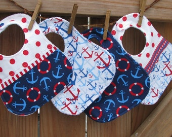 Bibs - Nautical Theme - Anchors Away - Red White and Blue Baby Boy Bibs set of 4