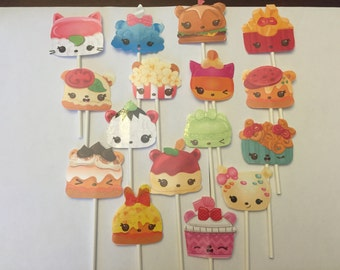 Num Noms cupcake toppers. (16)  Season 2 Birthday cake decorations. Party supplies!
