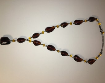 Amber glass necklace with silver findings