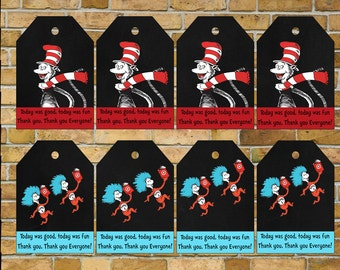 Dr Seuss Gift Tags, Thank you tags, Dr Seuss birthday, Dr Seuss Baby Shower Cat in the hat Digital download. Sale!!!!
