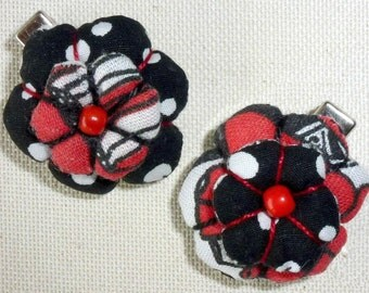 "Two strips fabric flower ""Lolita"" red, white and black, Alligator Clips"