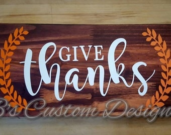 Give Thanks - 16x8 Stained Wood Decor