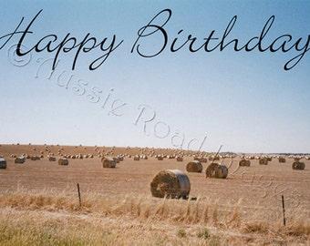 Happy Birthday Card 'GC016' round, hay, bale, country, open, flat, rural, paddock, dry, grass, Australian, greeting.