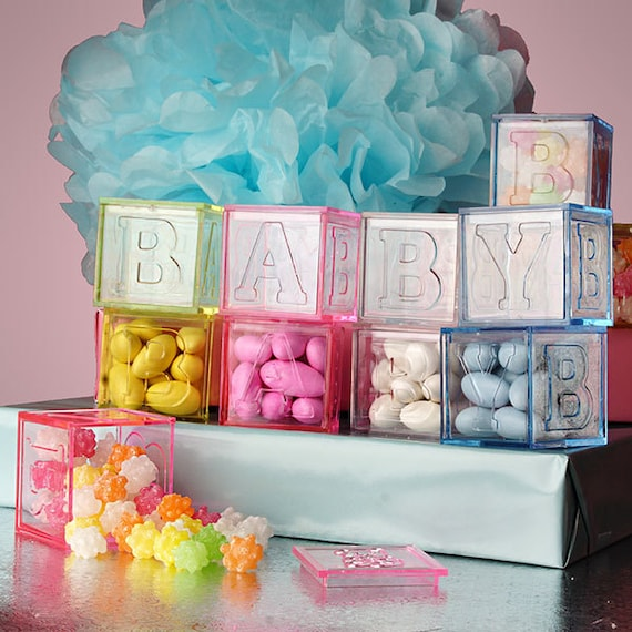 Items Similar To 4 New Baby Blocks Plastic Favor Boxes