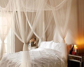 Sheer Bed Canopy White Black Ecru