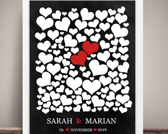Guestbook POSTER wedding #Hearts table look personalized DIN A3