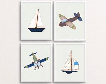 Transportation Prints, Boats Wall Art, Planes Wall Art, Airplane Decor, Boat Poster, Nursery Decor, Boy's Nursery Art, Blue Decor, Brown Art