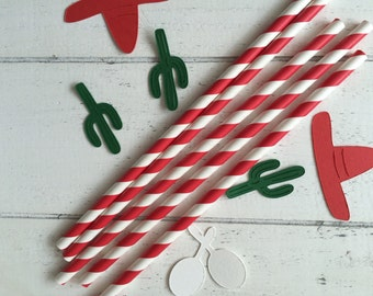 Red straws. Mexican party decorations. Paper straws.