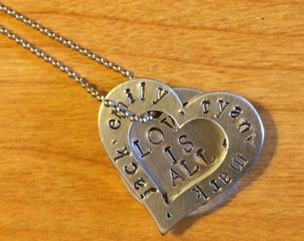 Hand stamped heart and circle necklace