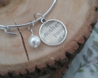 MOTHER'S DAY Bible Verse and Vintage Dictionary Word Necklace or Bracelet