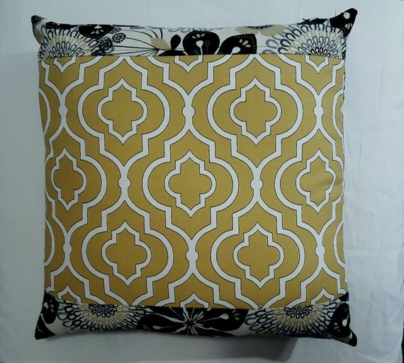 Pillow Mid Century Modern Fabric Citron Trellis with Black