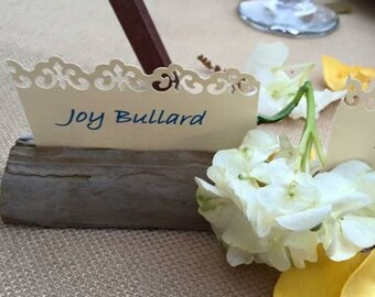 Hand-made driftwood placecard holder