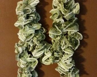 Very nice shades of green crochet ruffle scarf