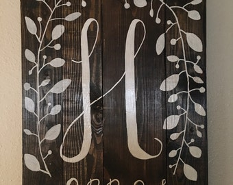 Rustic Home Decor // Initial & Wedding Date