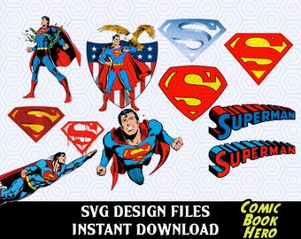 Super Hero Superman SVG Logos and Super Hero Figures, SVG, PNG T Shirt Design for Silhouette Cameo Cut Files, Svg Print and Cut Files,