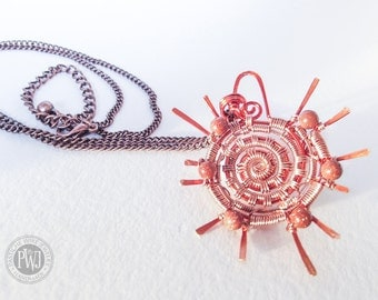 Atomic Blaze-Copper & coated wire wrapped sun pendent