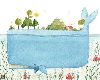 My small whales / / Illustration of whales in particular universe / / art Giclée