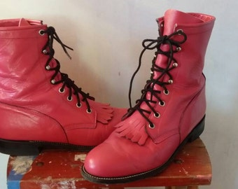 Justin Hot Pink Lace Up Boots 9M
