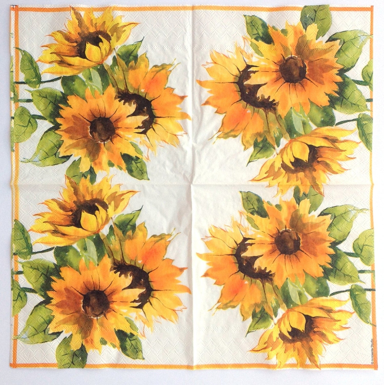4 Paper Napkins For Decoupage Sunflowers Decoupage