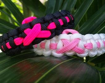 Breast Cancer Awareness Paracord Bracelet. Paracord Breast Cancer Awareness, Pink Ribbon Paracord Bracelet, Cancer Awareness Bracelet
