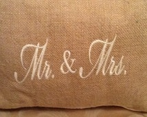 "Embroidered ""Mr. & Mrs."" Pillow"