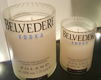 Belvedere Vodka Glass Bottle Candle Vanilla Scented Upcycled - Grey Goose Champagne