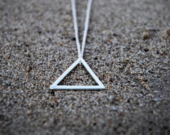 Triangle Pendant, sterling silver necklace, simple pendant