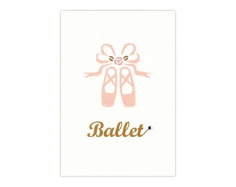 "Ballet Greeting Card ""Pointe Shoes Rose"""
