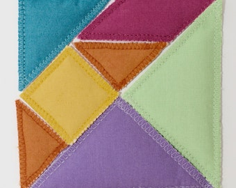 Magnetic tangram, magnetic puzzle, Chinese puzzle in fabrics for children, kids, imagination, creativity