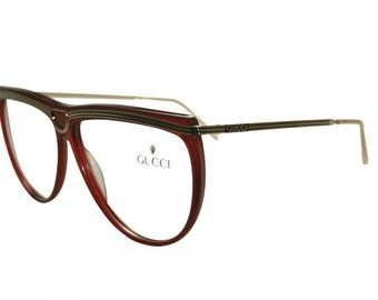 gucci frames. vintage gucci ladies red and gold frames