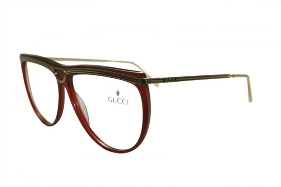 Vintage Gucci Ladies Red and Gold Frames