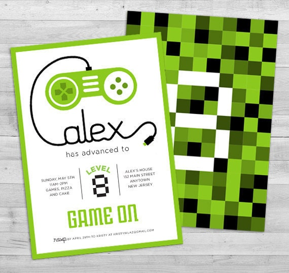 Video Game Invitation Game Truck Party By WLAZdesignSHOP